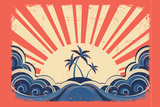 Paradise Island On Grunge Paper Background With Sun Plastic Sign by  GeraKTV
