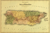 Puerto Rico - Panoramic Map Wall Sign