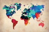 World Watercolor Map 1 Plastic Sign by  NaxArt