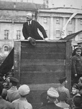 Lenin Delivering a Speech in a Moscow Square, with Trotsky Watching, 1918 Photographic Print