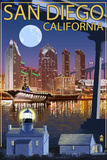 San Diego, California - Skyline at Night Wall Sign
