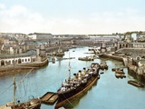Ships Moored on the Penfeld River, Brest, 1890-1900 Photographic Print