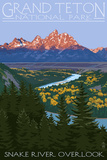 Grand Teton National Park - Snake River Overlook Wall Sign by  Lantern Press