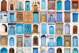 Very Old, Blue And Golden Doors Of Morocco Plastic Sign by  charobna
