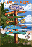 Key West, Florida - Destination Signs Wall Sign by  Lantern Press
