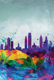 Philadelphia Watercolor Skyline Wall Sign