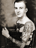 Portrait of Bob Shaw Showing of His Tattooed Sleeves by Bert Grimm, C.1942 Photographic Print