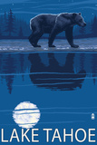 Bear at Night - Lake Tahoe, California Wall Sign by  Lantern Press