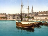View of the Walled City of St Malo from the Harbour, 1890-1900 Photographic Print