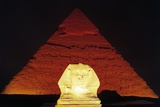 The Sphinx of Giza and Pyramid of Khafre at Night, Giza Necropolis Photographic Print