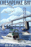 Chesapeake Bay Bridge - Maryland Plastic Sign by  Lantern Press