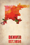 Denver Watercolor Map Plastic Sign by  NaxArt