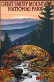 Great Smoky Mountains - Waterfall, c.2009 Plastic Sign by  Lantern Press