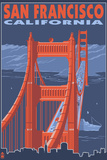 San Francisco, California - Golden Gate Bridge Wall Sign by  Lantern Press