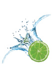 Fresh Lime Dropped Into Water With Splash Isolated On White Wall Sign by  artjazz