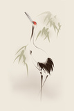 Oriental Style Painting, Red-Crowned Crane Plastic Sign by  ori-artiste
