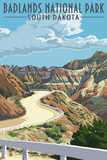 Badlands National Park, South Dakota - Road Scene Plastic Sign by  Lantern Press