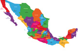 Colorful Mexico Map With State Borders And Capital Cities Plastic Sign by  Volina
