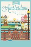 Retro Style Poster With Amsterdam Symbols And Landmarks Wall Sign by  Melindula