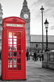 A Traditional Red Phone Booth In London With The Big Ben In A Black And White Background Plastic Sign by  Kamira