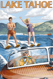 Lake Tahoe, California - Water Skiing Scene Plastic Sign by  Lantern Press