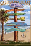 Pismo Beach, California - Destination Sign Wall Sign by  Lantern Press