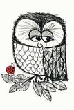 Retro Black and White Owl with Ladybug Kunststof bord