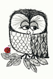 Retro Black and White Owl with Ladybug Plastic Sign