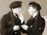 Two German Submariners Enjoying a Cigarette, C.1941 Photographic Print