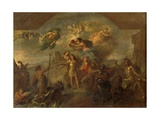 Allegory of Louis XIV, the King Armed on Land and at Sea, 1678 Giclee Print by Charles Le Brun