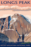 Longs Peak - Rocky Mountain National Park Wall Sign by  Lantern Press
