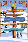 Vermont - Ski Areas Sign Destinations Wall Sign