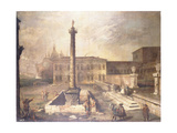 A Capriccio of a Piazza in Front of a Palace with the Column of Marcus Aurelius Giclee Print by  Canaletto