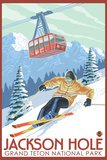 Wyoming Skier and Tram, Jackson Hole Plastic Sign by  Lantern Press