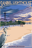 Sanibel Lighthouse - Sanibel, Florida Wall Sign by  Lantern Press