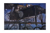 With the French Air Service, a Night Bombardment by a Voisin Biplane, 1918 Giclee Print by Francois Flameng