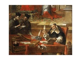 Two Jesuits Talking While St Raymond Writes the Council, Detail from St Raymond of Penafort Giclee Print by Alonso Antonio Villamor