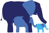 Blue Elephants Wall Sign