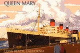 Long Beach, California - Queen Mary Wall Sign by  Lantern Press