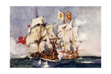 "Anson's ""Centurion"" Taking the Spanish Galleon ""Nuestra Senora De Cabadonga,"" 1743 Giclee Print by Charles Edward Dixon"