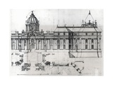 Architectural Drawing and Plan, Detail from Drawing for Louvre, 1664 Giclee Print by Francois Mansart