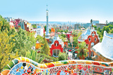 The Famous Summer Park Guell Over Bright Blue Sky In Barcelona, Spain Plastic Sign by  Vladitto