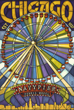 Chicago's Navy Pier and Ferris Wheel Wall Sign by  Lantern Press