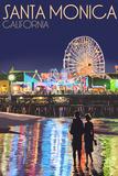 Santa Monica, California - Pier at Night Wall Sign