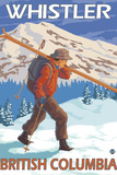 Skier Carrying Snow Skis, Whistler, BC Canada Wall Sign