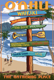 Waikiki, Oahu, Hawaii - Sign Destinations Wall Sign by  Lantern Press