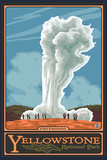 Old Faithful Geyser, Yellowstone National Park, Wyoming Plastic Sign by  Lantern Press