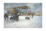 Ground Crew and Pilot Manhandle a French Spad Fighter Through the Snow to a Hangar, January 1918 Giclee Print by Francois Flameng