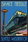 Space Needle and Monorail, Seattle, Washington Wall Sign