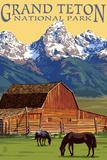 Grand Teton National Park - Barn and Mountains Plastikschilder von  Lantern Press